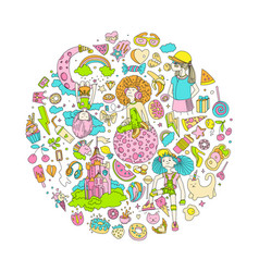 colored set teenage girl icons cute cartoon vector image