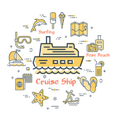 concept of summer time with cruise ship vector image