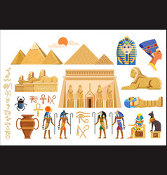 cultural symbols of ancient egypt vector image