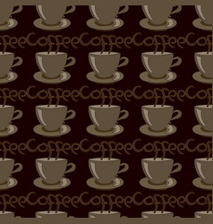 Cup of coffee on brown vector