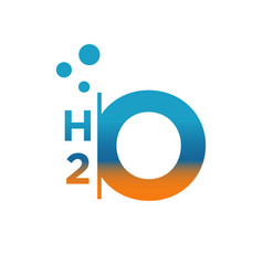 Custom h2o logo chemical formula for water the vector