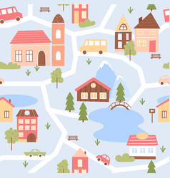 cute city houses seamless pattern cartoon funny vector image