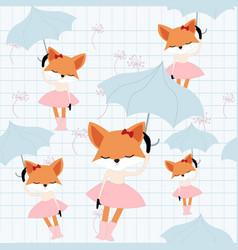 cute fox girl in the sky vector image