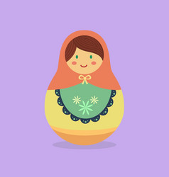 Cute russian doll orange vector