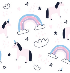 Cute unicorns and rainbows seamless pattern vector