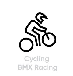 Cycling bmx racing sport icons vector