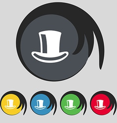 cylinder hat icon sign Symbol on five colored vector image
