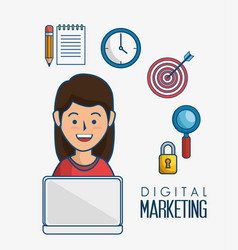 Digital marketing flat icons vector