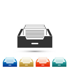 drawer with documents icon on white background vector image