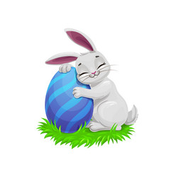 Easter funny gray bunny with egg vector