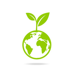 Eco icon green earth vector