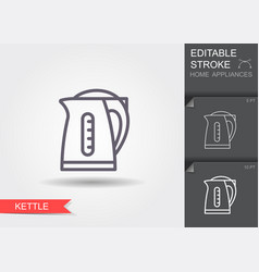 electric kettle line icon with editable stroke vector image