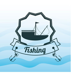 Emblem related with fishing boat vector