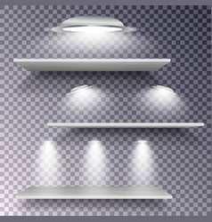 empty wooden shelf with lamps isolated on vector image