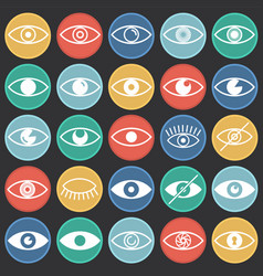 Eye icons set on color circles black background vector
