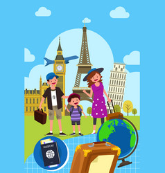 family traveling together vector image
