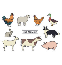 farm animals line isolated objects vector image
