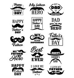 fathers day holiday icons lettering vector image