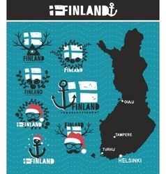Finnish map and labels vector image