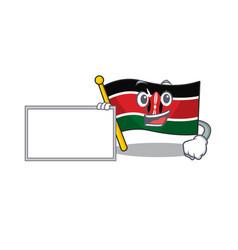 Flag kenya with board cartoon with character happy vector