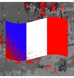 Flag of france and blood splatter vector