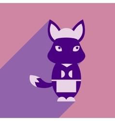 Flat icon with long shadow fox cartoon vector