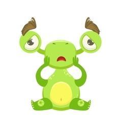 Funny Monster Sitting Upset Green Alien Emoji vector image