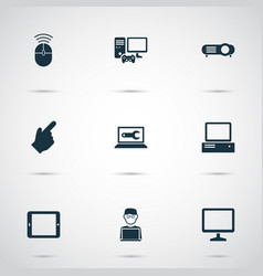 gadget icons set with computer monitor computer vector image