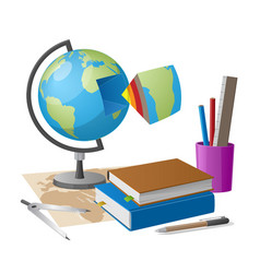 Geography lesson related elements cartoon globe vector