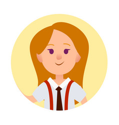 girl avatar in round web button isolated on white vector image
