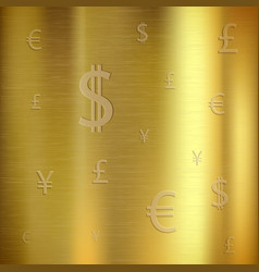 golden textured background with currency signs vector image