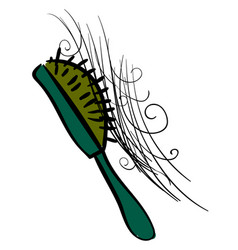 green comb with hair on white background vector image