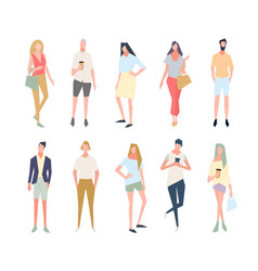 group people standing in a pose vector image