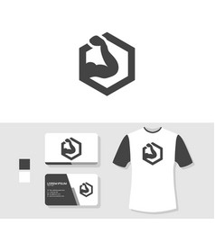 gym logo design with business card and t shirt vector image