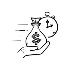 Hand drawn doodle hand and money symbol for vector