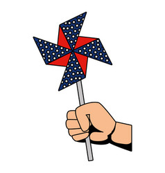 hand with wind spin toy usa flag vector image