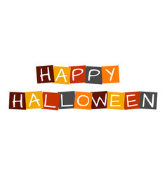 Happy halloween text in colorful rotated squares vector