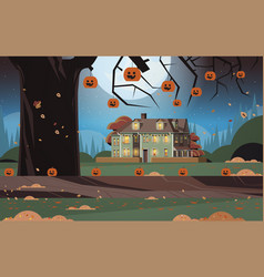 house decorated for halloween holiday celebration vector image