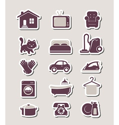 Household paper cut icons vector image