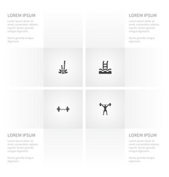 icon activities set of cane basin weightlifting vector image