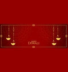 indian diwali festival red banner diya decoration vector image
