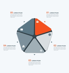 infographic template with pentagon 5 options vector image