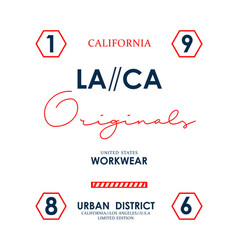 la ca california slogan graphic typography vector image