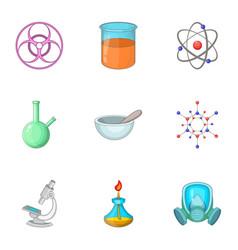 Laboratory equipment icons set cartoon style vector