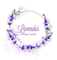 lavender watercolor wreath delicate floral vector image