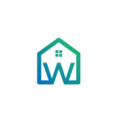 Letter w architect home construction creative vector