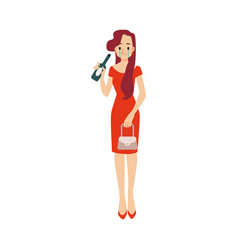 Lonely unhappy drunk woman with bottle in vector