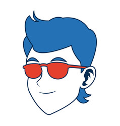 Man face character smiling with blue hair and vector