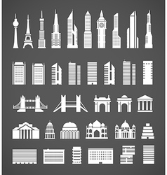 Modern city elements silhouettes collection vector