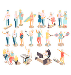 Modern elderly people isometric icons vector
